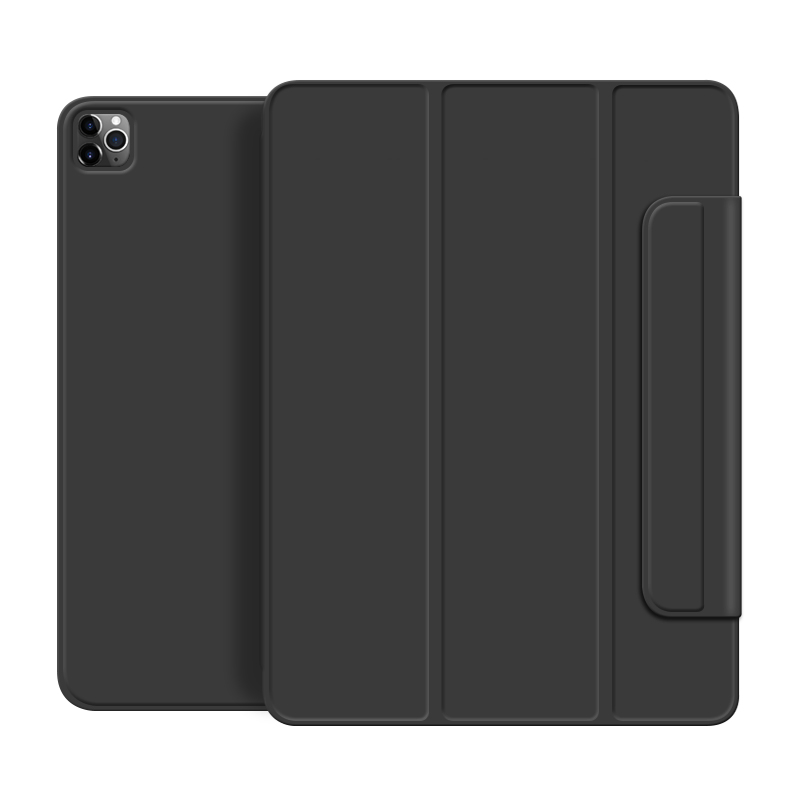 Black Gray For iPad Pro 2020 12 9 inch case Smart cover Tri fold magnet Back protector Buckle