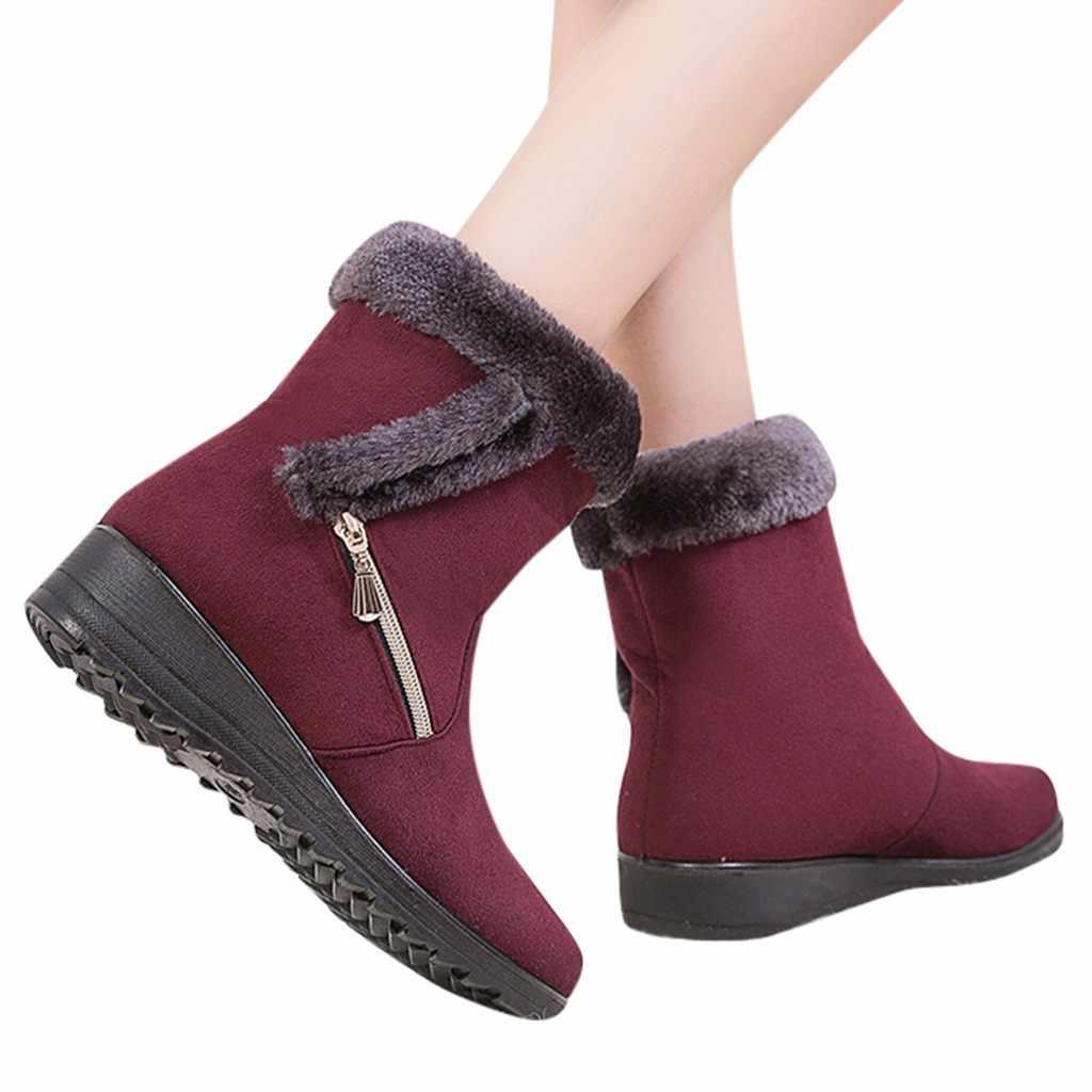Yeni kış yarım çizmeler kadın platformu Faux kürk su geçirmez Anti kayma kısa patik bayanlar rahat sıcak kar ayakkabıları ayakkabı #816