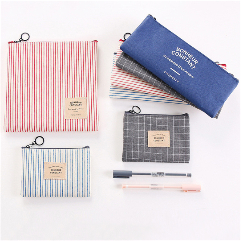 Vogvigo Portable Strip Grid Letter  Beauty Zipper Travel Cosmetic Bag Makeup Bags Pouch Toiletry Organizer Holder Wash Bags