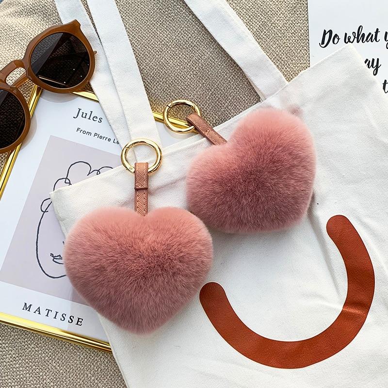 Rex rabbit fur love pendant furry plush ball heart bag pendant heart-shaped pendant car ornament cute key chain