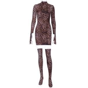 Image 5 - Hugcitar 2019 הדפס מנומר סקסי מיני שמלה עם כפפות גרבי סתיו חורף נשים streetwear מועדון מסיבת Chirstmas תלבושות