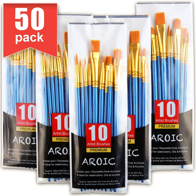 Paint Brushes Set, 5 Packs / 50 Pcs Nylon Hair Brushes For All Purpose Oil Watercolor Painting Artist Professional Kits, 50 Pack