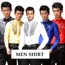 Мужские костюмные рубашки с блестками атласное с длинными рукавами сценические рубашки смокинг рубашки Одежда для выступлений для мужчин 5 цветов S-2XL SL1630