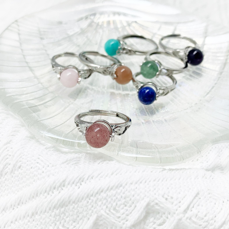 Momiji moda anéis cura natural pedra anéis ametistas ágata rosa quartzo womenparty casamento rotatable atacado|Anéis|   -
