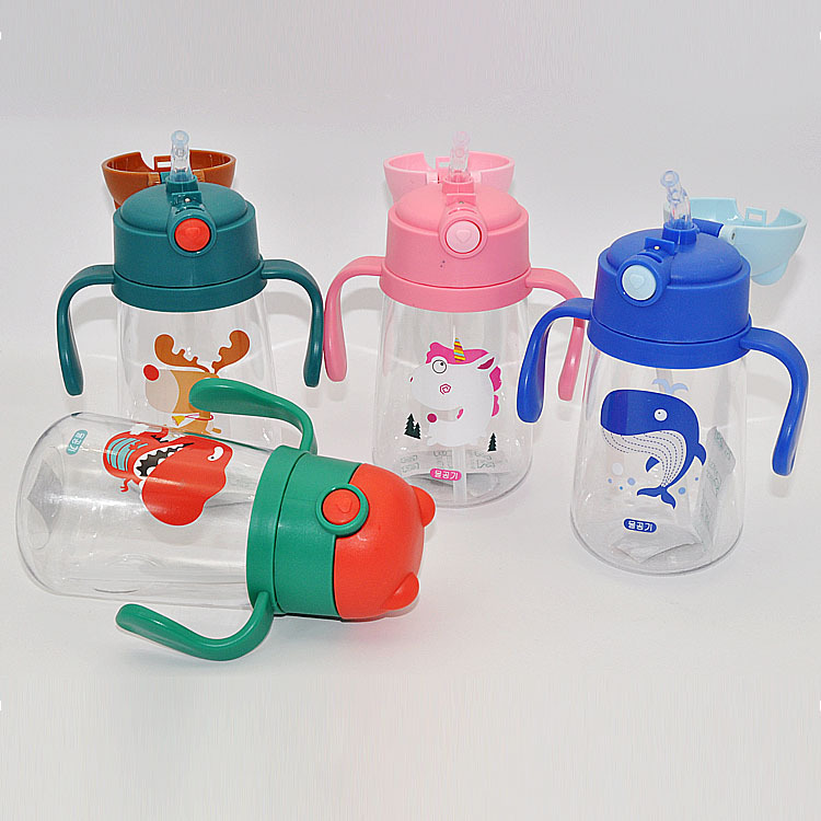 CHILDREN'S Cups Handle Cup With Straw Portable Students Plastic Cup Kettle Infant Sippy Cup With Handle