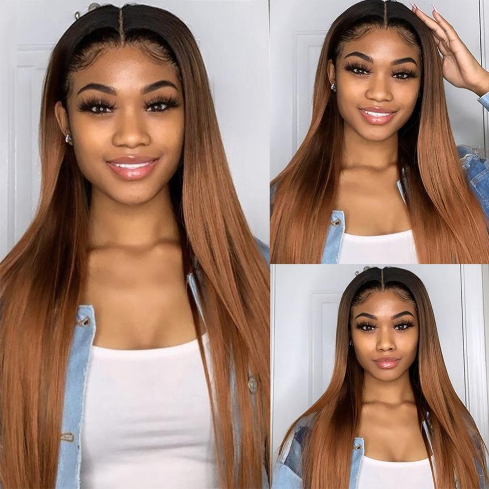 Puromi Peruvian Straight Hair Ombre 3 Bundles With Closure 1B/30 Human Hair Bundles With Closure Dark Root Remy Human Hair Weave