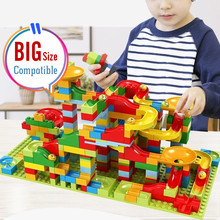 54-330 pces tamanho grande blocos de corrida de mármore marca duploed labirinto bola pista blocos de construção funil slide tijolos brinquedos todos disponíveis