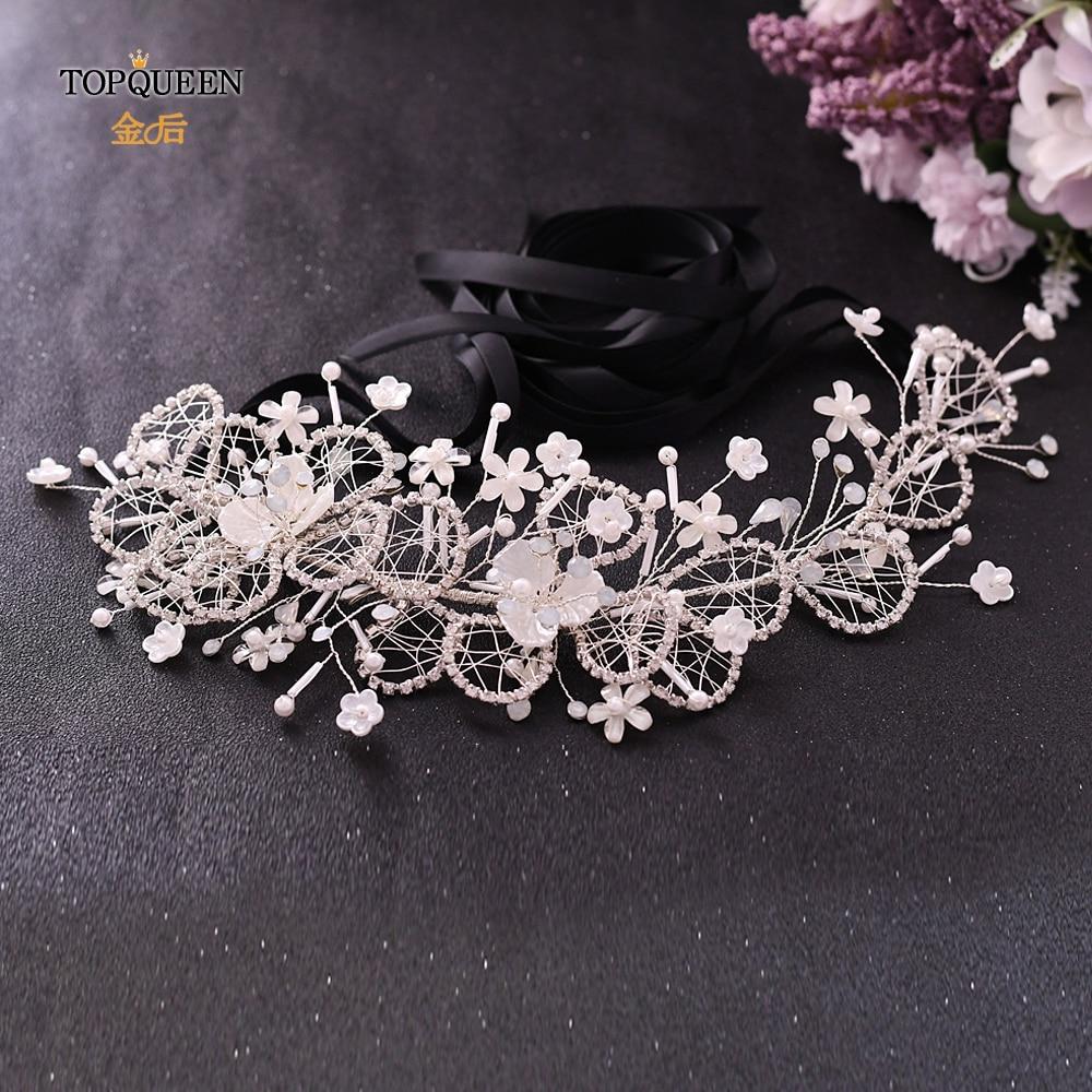 TOPQUEEN SH246 Bridal Wedding Sash Belt Black And Rhinestone Sashes For Bridesmaids Dresses Floral Bridal Belts And Sashes