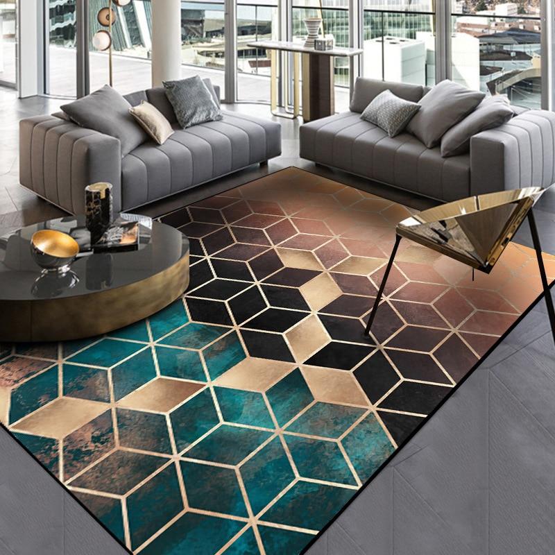 US $8.28 31% OFF|New Trend Modern metal golden carpet Dark green/black  geometric bedroom carpets for living room rugs Fashion parlor  mat/tapetes-in ...