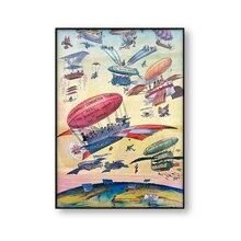 Póster de viaje Vintage ilustración de dibujos Canal de Panamá Apertura de globo de aire avión antiguo arte de la pared imagen lienzo pintura impresa