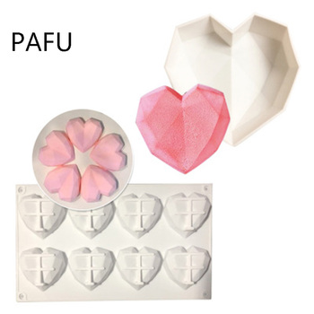 Silicone heart shaped cake mold diamond  love mold diy soap gypsum resin mold chocolate fondant cake decoration tools soap flower modelling silicon soap mold fondant cake decoration mold sleep baby soap mold 100% food grade raw material