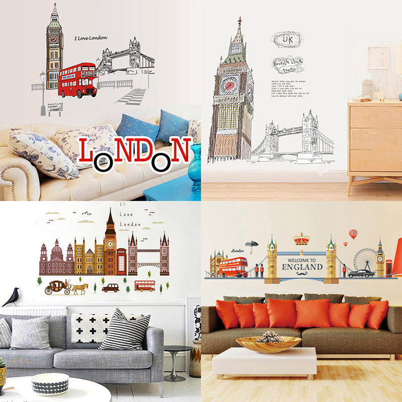 London Wall Decals City Silhouette England Building Vinyl Murals Living Room Office Wall Art Rotterdam Stickers Home Decoration