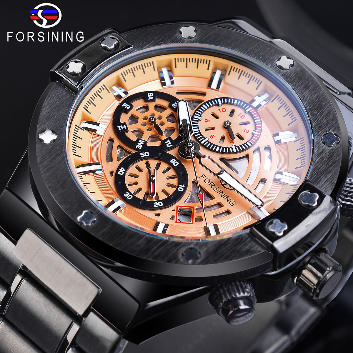 Forsining Male Sport Mechanical Watches Automatic Yellow 6 Hands Date Multifunction Luminous Hands Steel Belts Relogio Masculino