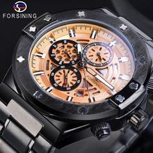 Forsining Male Sport Mechanical Watches Automatic Yellow 6 Hands Date Multifunction Luminous Steel Belts Relogio Masculino
