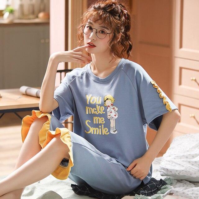 女性のパジャマセット夏プラスサイズニット綿ナイトウェア女性大サイズ 5XL 半袖パジャマセットやホームウェアパジャマ