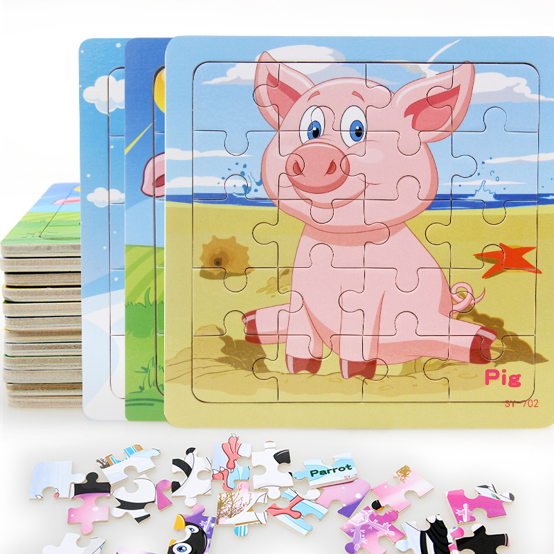 1Pcs Hot Sale Kids Puzzle Vehicle Wooden Puzzles Animal Farm Poultry Duck Pig Wood Jigsaw Baby Educational Learning Toy Children