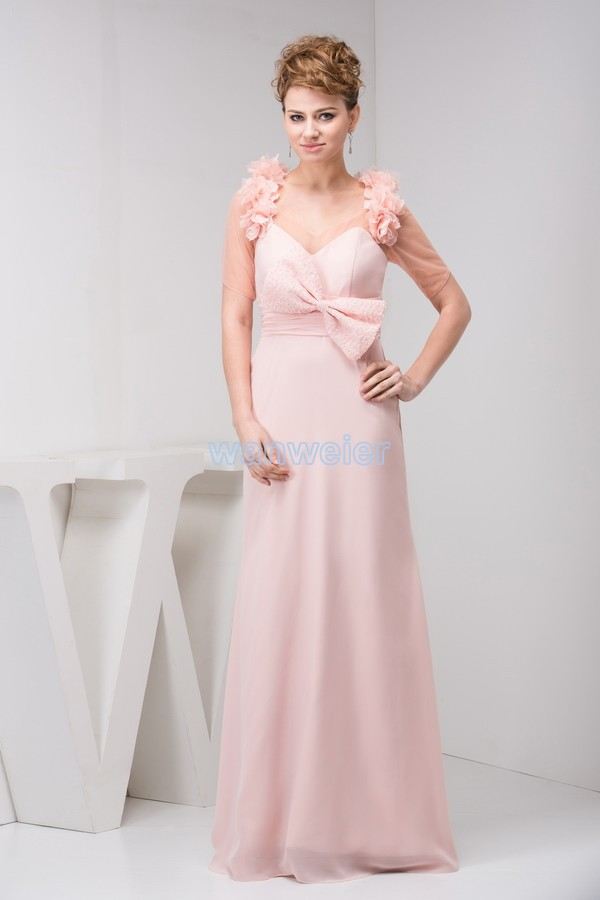 Free Shipping 2020 New Design Hot Sale Brides Gown Custom Size/color Handmade Bow Floor-Length Pink Chiffon Bridesmaid Dress