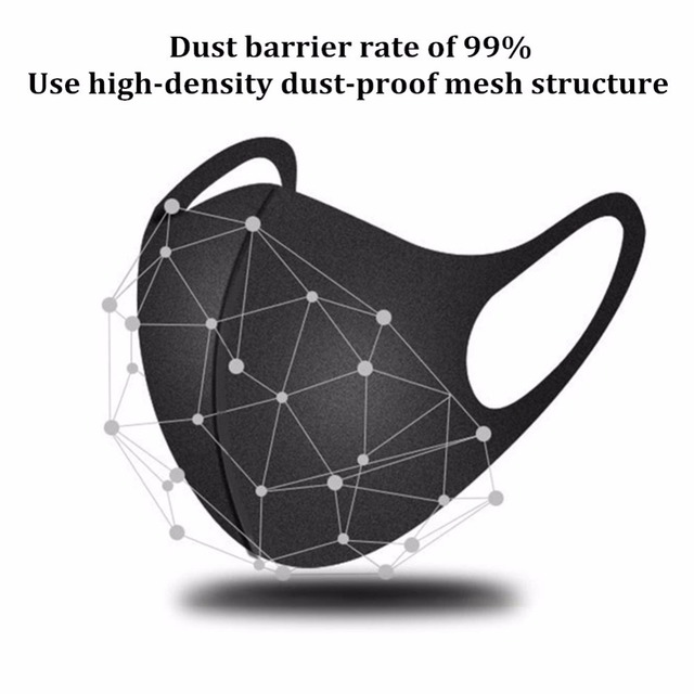 Adult Anti Flu Windproof Mouth Mask 3D Fashion Black Color Reusable Earloop Washable Dust Soft Breathable Anti-virus Face Mask 2