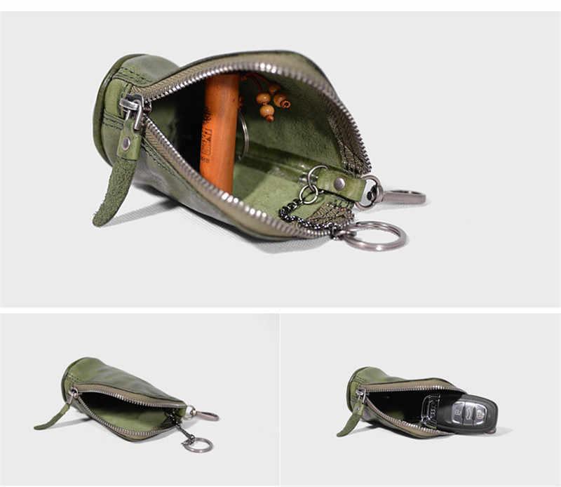 PNDME Модный чехол для ключей из натуральной кожи для мужчин и женщин, Простой повседневный дизайнерский кошелек на молнии из натуральной воловьей кожи