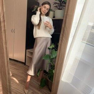 Image 3 - 女性のスカート韓国スタイルaラインサテンブラックハイ足首の長さの女性のスカートmujer段faldasファムjupes saias mulher