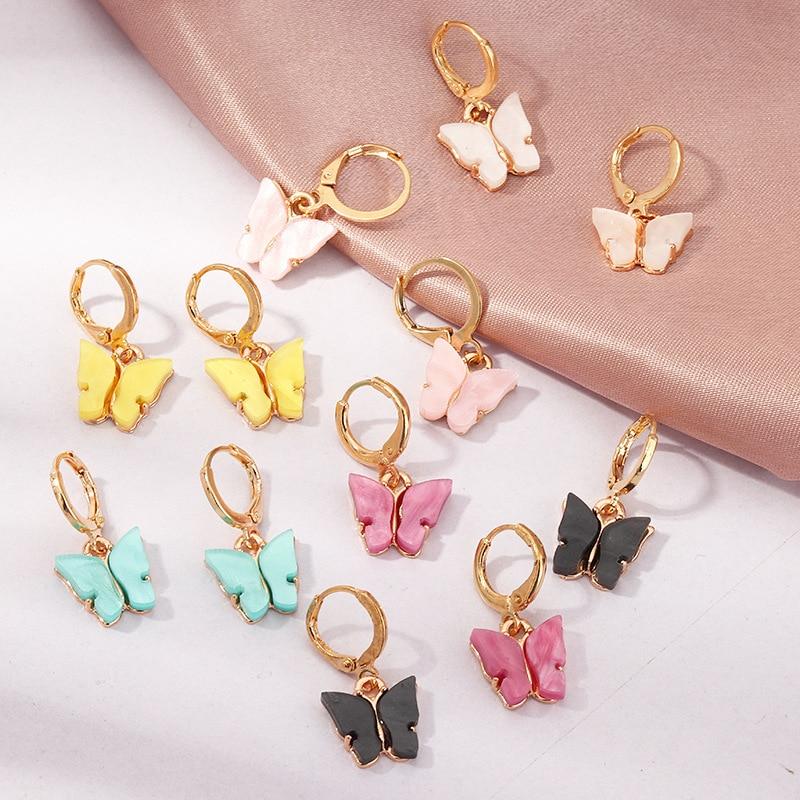 TAFREE Korean new Fashion Earrings Acrylic butterfly shape Jewelry small fresh sweet Drop Earing For woman Cute best gifts E3362