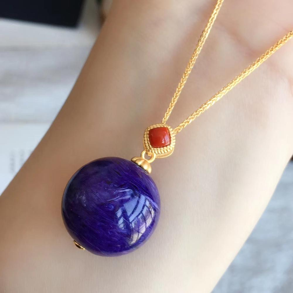 20mm Natural Purple Charoite Sphere Ball Round Pendant Crystal Stone Round Beads Men Woman Love Gift Necklace Pendant Jewelry