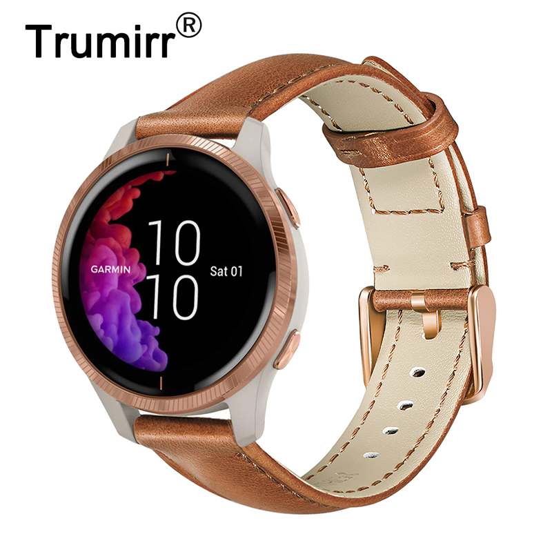 Italy Genuine Leather Watchband For Garmin Venu / Vivomove HR 3 3S Luxe Style / Vivoactive 4 4S 3 Quick Release Strap Watch Band