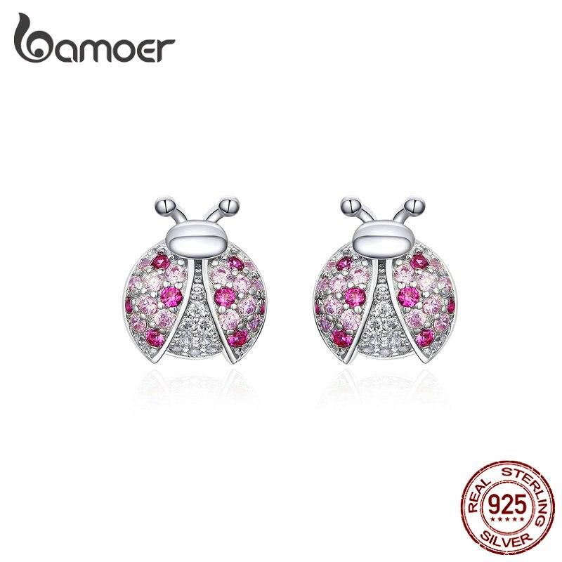 Bamoer Rosa Romantic Laybug Stud pendientes para mujer 925 Plata de Ley pequeños pendientes para chica Gfits diseño Original SCE715