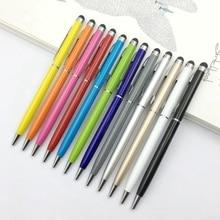 цена на 100Pcs Mini Metal Universal Press Screen Stylus Roller Ballpoint Pen 2 in 1 for Iphone Ipad Samsung Galaxy Tablet Pc Smartphones