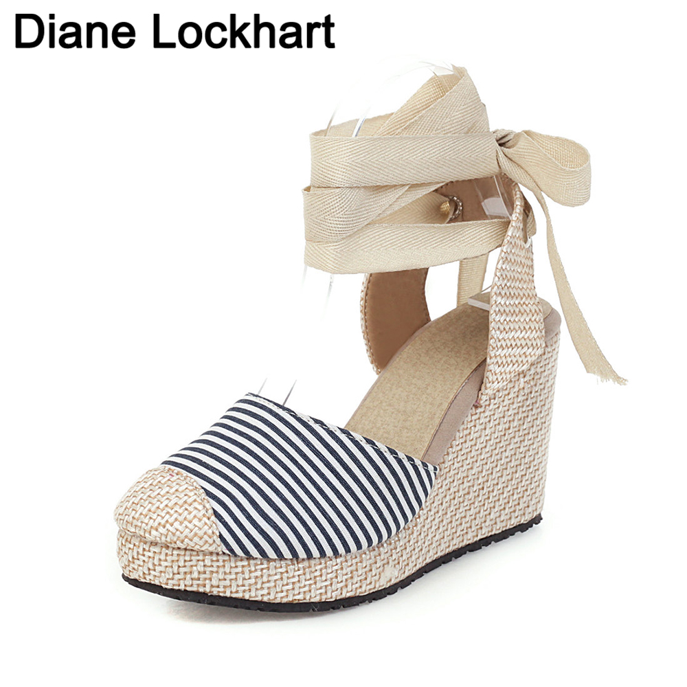 brand 2020 platform wedges high heels cross-tied sandals women Straw Summer Party ankle-wrap Casual Lace Up Shoes Woman Pumps