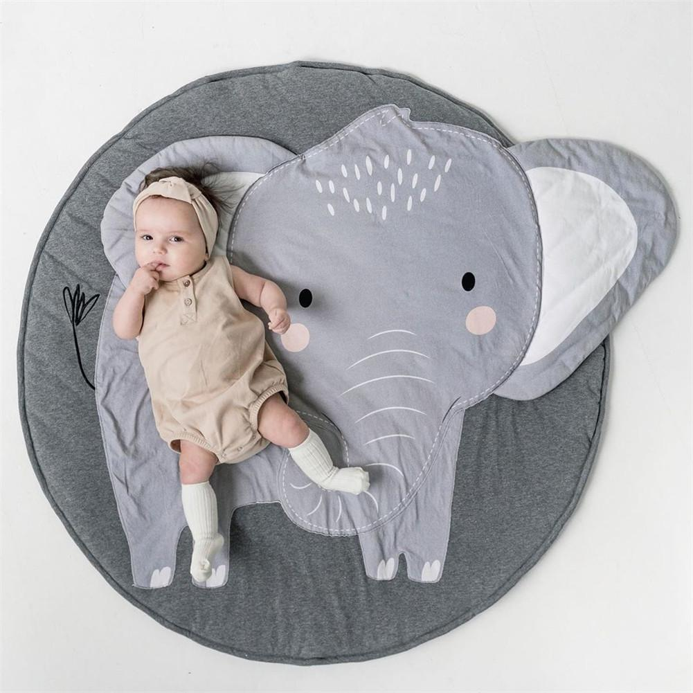 Baby Cotton Play Mats Soft Cartoon Animals Elephant Print Baby Child Crawling Mat Carpet Unisex Educational Toy For Baby