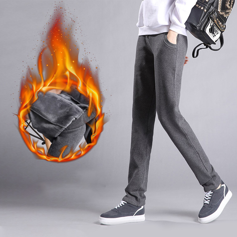 Fleece Cotton Pants For Women Plus Size 4XL Winter Warm Korean Sweatpants Women's Trousers Female Black Soft Ladies Pants