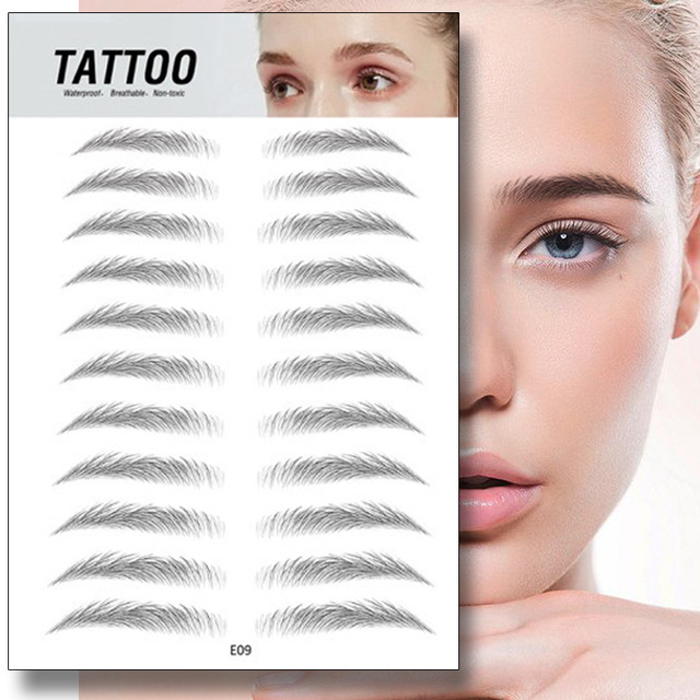 4D Eyebrow Tattoo Sticker Hair-Like False Eyebrows Waterproof Long Lasting Water Transfer Eye Brow Stickers Makeup Cosmetics 4