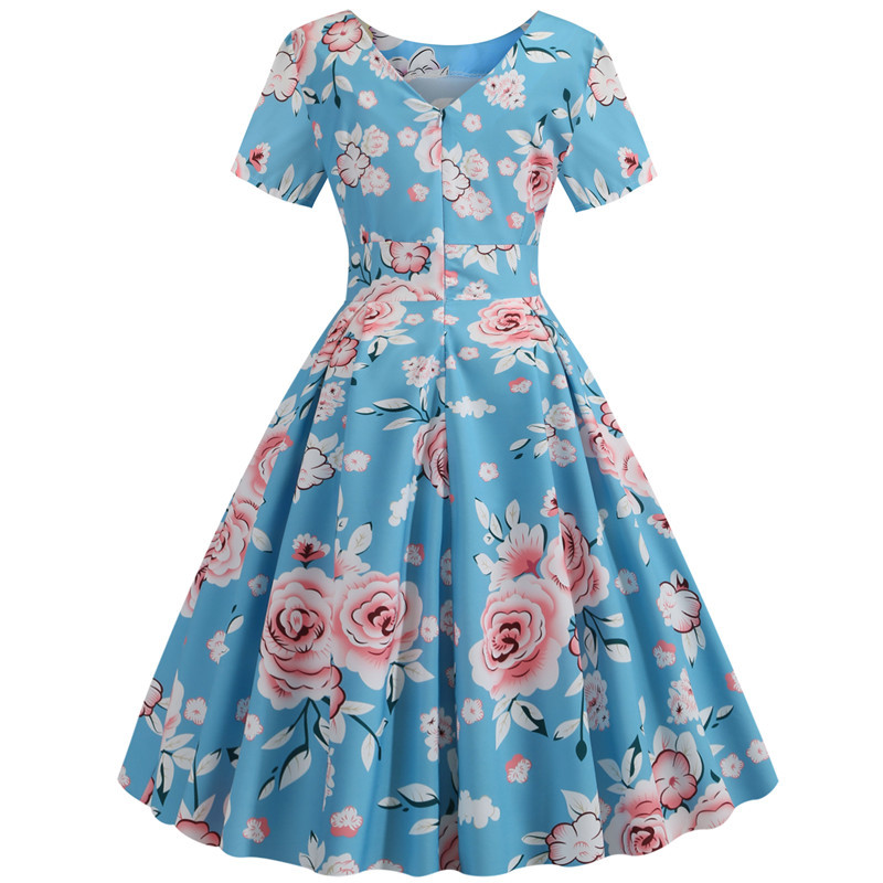 Summer Floral Print Elegant A-line Party Dress Women Slim White Short Sleeve Swing Pin up Vintage Dresses Plus Size Robe Femme 249
