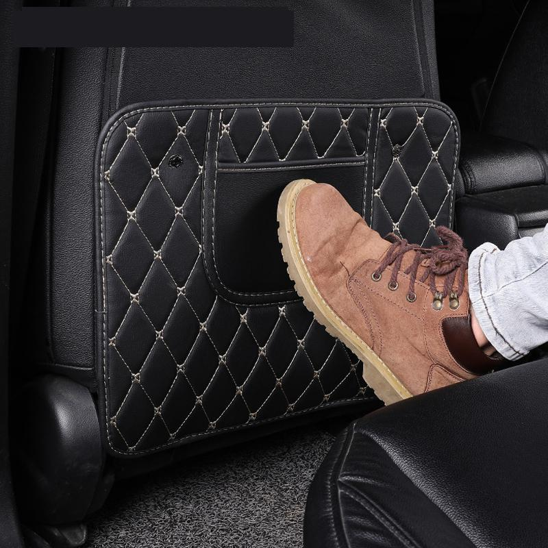 New for Ford Toyota VW Car Seat Back Genuine Leather Anti Kick Pad Protector Waterproof Child Anti Dirty Protection Car Styling