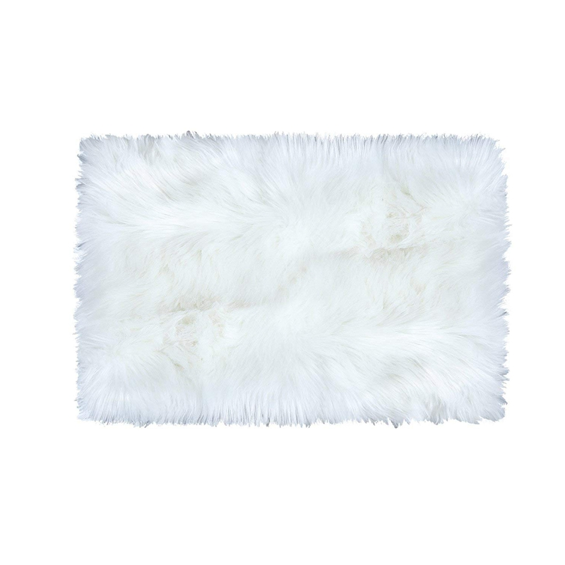New Super Soft Faux Fur Sheepskin Area Rug Shaggy Silky Plush Carpet White Faux Fur Rug for Bedroom Bedside Rugs Floor  2ft x 3f|Carpet| |  - title=
