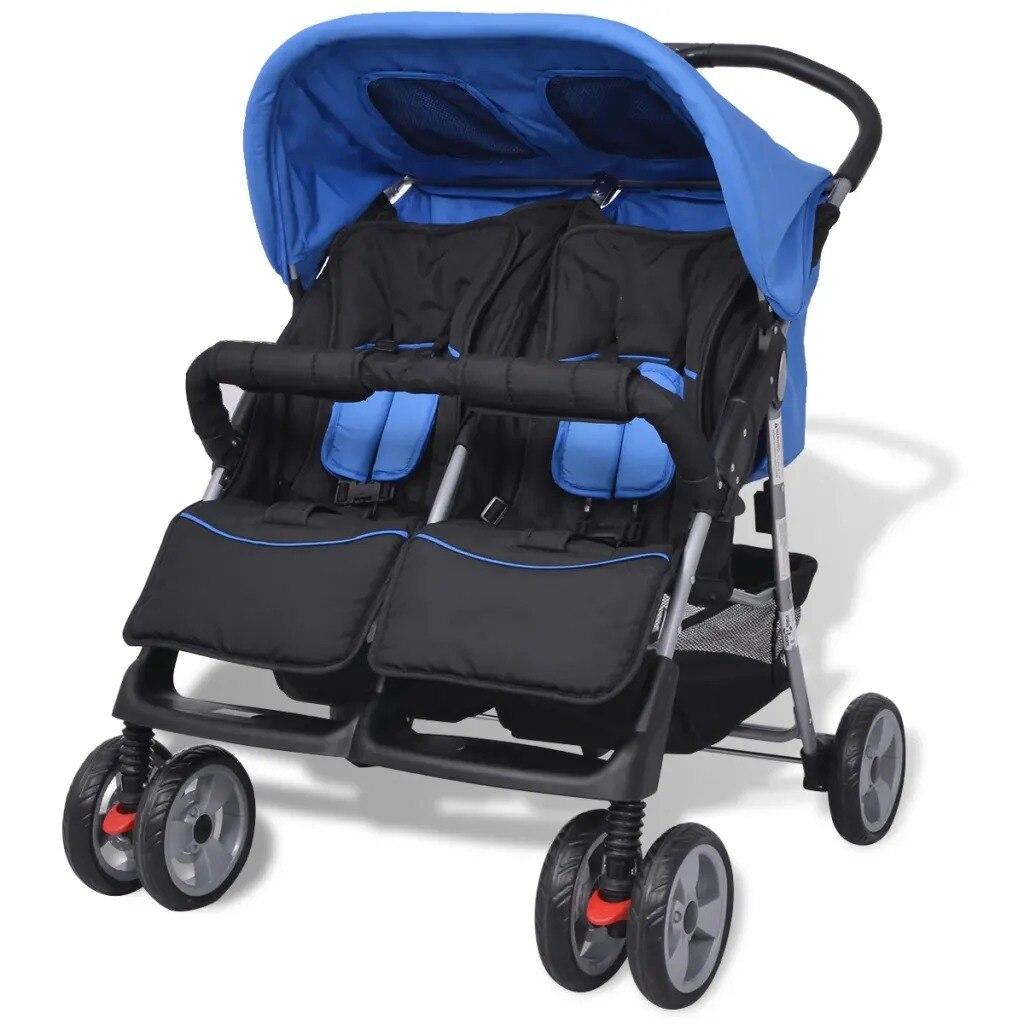 Poussette double bébé acier bleu et noir quatre roues poussette roues verrouillable 360 degrés rotatif parfait poussette pour les tout-petits