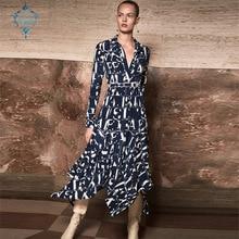 купить CUERLY 2019 autumn dress women long sleeve elegant dresses turn-down collar blue and white print hem irregular Casual vestidos онлайн
