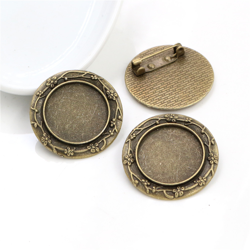 5pcs 20mm Inner Size Antique Bronze Brooch Pin Cabochon Base Setting  (D1-27)
