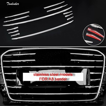 Tonlinker 12 PCS Car style Stainless steel The front face net decorative light strip Cover Case Stickers for AUDI A3 accessories