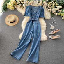 Women's retro cowboy square collar bubble sleeves high waist loose Jumpsuits