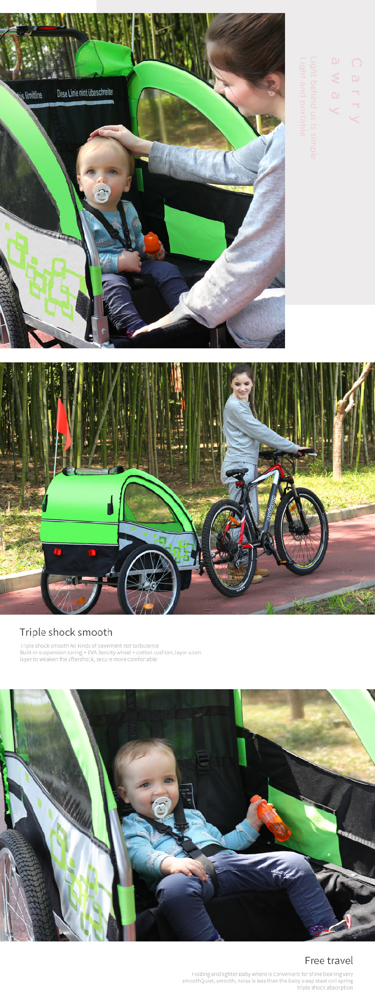 Bicycle Trailer and Stroller 2 in 1 For 2 Babies Twins Cart Mutifunction Anti Shock Rain Water Foldabe Outdoor Toys Goods Kids