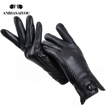 2019 Fashion Buckskin prawdziwe damskie skórzane rękawiczki wygodne ciepłe damskie zimowe rękawiczki zimne rękawice ochronne dla kobiet-2265 tanie i dobre opinie anihasaiyou Kobiety Prawdziwej skóry Dla dorosłych Stałe Nadgarstek Moda 25 cm