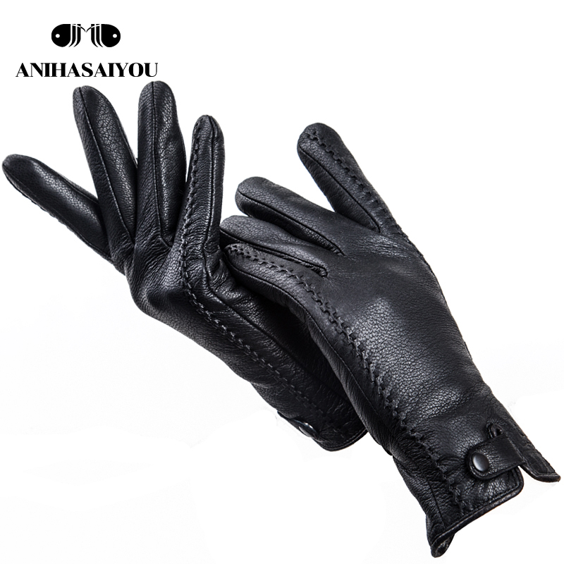 Fashion Buckskin Real Women's Leather Gloves,Comfortable Warm Women's Winter Gloves Cold Protection Gloves For Women - 2265