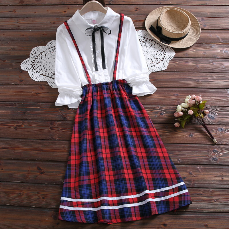 2020 Spring Japanese School Dresses Women Elastic Waist Long Sleeve Fake Two-piece Cotton And Linen Plaid Skirt Girls