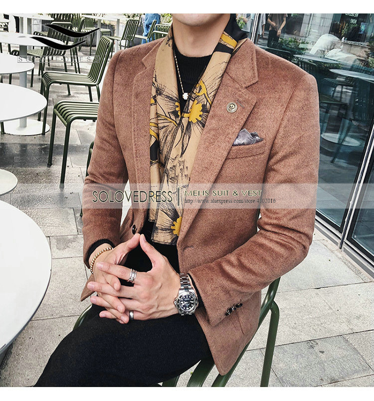 Solovedress Thick Suede Blazer Notched Lapel Single Breasted 1Button Fashion Mens Stage Party Wear Coat Formal Wedding Jacket