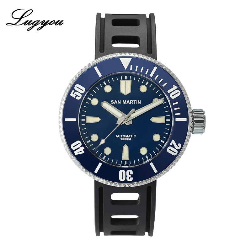 Lugyou San Martin Professional Diver Men Watch Automatic SW200 1000m Water Resistant Rubber Band Sapphire Crystal Ceramic Bezel