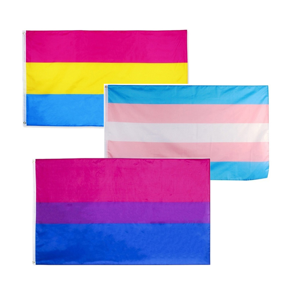 Banner Large <font><b>Pride</b></font> Flag Rainbow <font><b>Bisexual</b></font> Durability 3x5ft Polyester Creative Pansexual Gay Rectangle LQBTQ Tansgender image