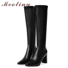 Купить с кэшбэком Meotina Winter Knee High Boots Women Natural Genuine Leather Thick Heel Long Boots Zip Super High Heel Shoes Lady Autumn Size 43