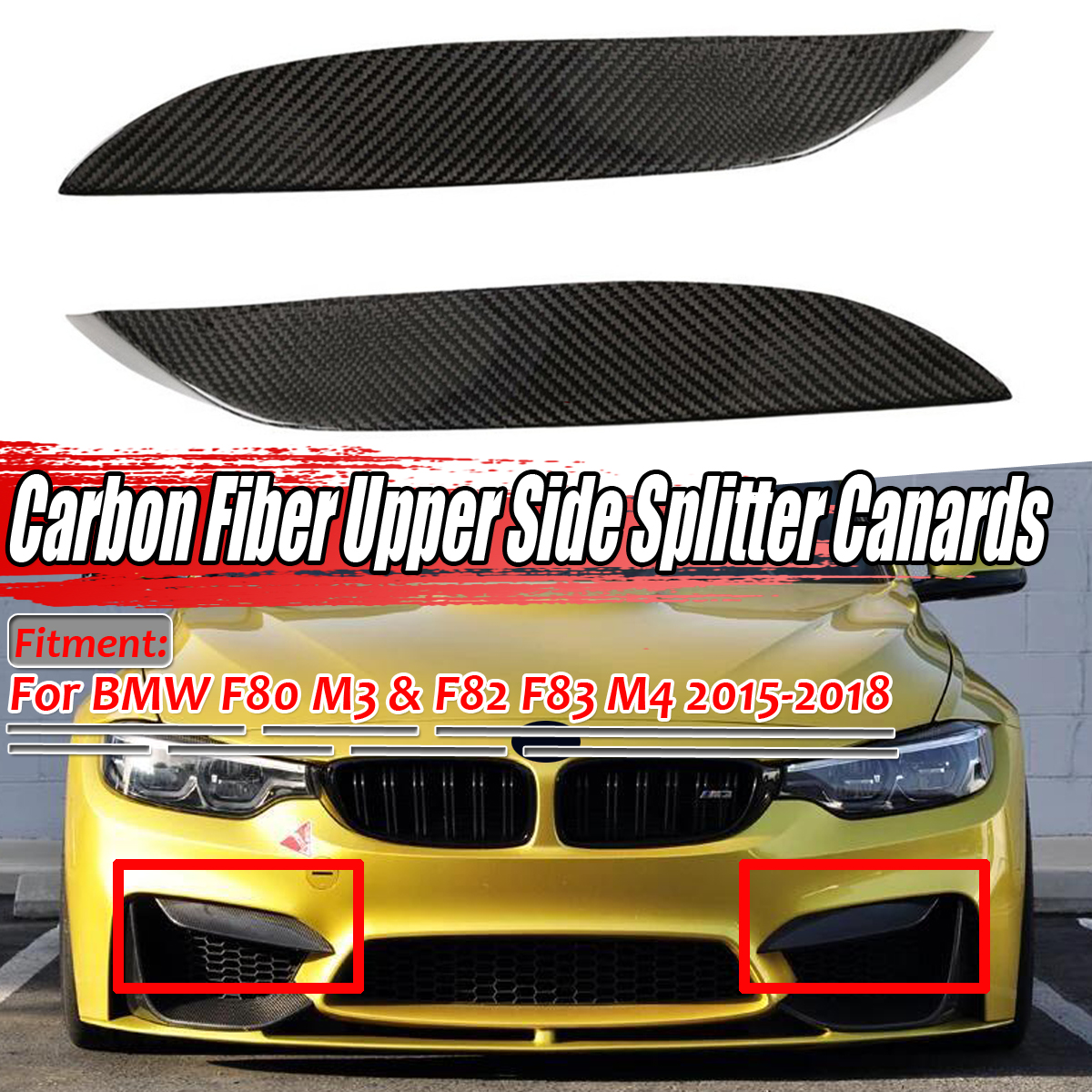 100% Real Carbon Fiber Car Front Bumper Lip Diffuser Upper Side Splitter Canards Lip Trim For BMW F80 M3 F82 F83 M4 2015-2018 image